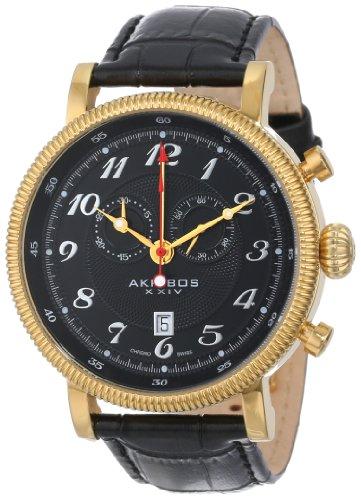 Akribos Xxiv Men'S Ak589Yg Swiss Chronograph Leather Strap Watch