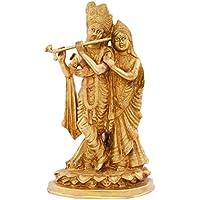 Kapasi Handicrafts Emporium Brass Lord Radha Krishna Standing Idol (19.6 Cm X 13.48 Cm X 33.08 Cm, Gold, AIN005354)