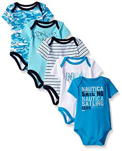 Nautica Baby Boys' Newborn Five-Pack Bodysuits, Teal, 6-9 Months