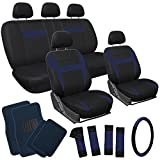 OxGord 21pc Black & Blue Flat Cloth Seat Cover and Carpet Floor Mat Set for the Hyundai Excel Hatchback, Airbag Compatible, Split Bench, Steering Wheel Cover Included