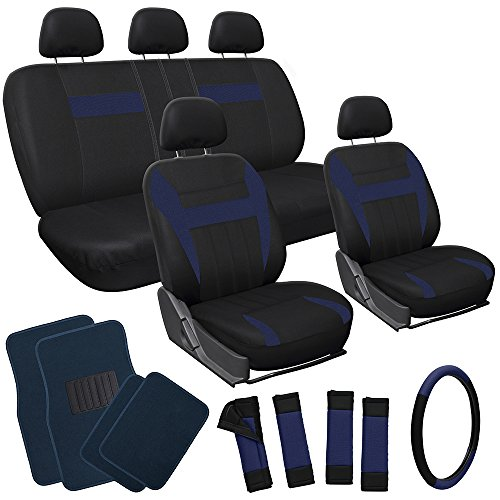 OxGord 21pc Black & Blue Flat Cloth Seat Cover and Carpet Floor Mat Set for the Ford Crown Victoria Sedan, Airbag Compatible, Split Bench, Steering Wheel Cover Included (Steering Wheel Crown Victoria compare prices)