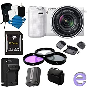 Sony Alpha NEX-5R Mirrorless Digital Camera with 18-55mm f/3.5-5.6 E-mount Zoom Lens (White) 16GB, Extra Battery, Quick Charger + More!