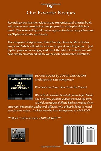RECIPE KEEPER ~ Our Favorite Recipes: Blank Cookbook formatted for your Menu Choices (Blank Books by Cover Creations)