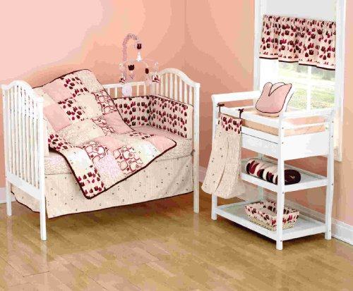 Beansprout Talullah 6 Piece Crib Set, Pink/Maroon front-1069720