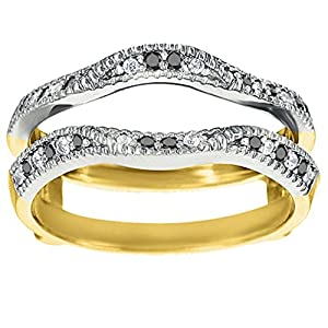 Black Diamond Millgrained Edge Contour Ring Guard Set In Two Tone Sterling Silver (0.24 Ct. Twt.)