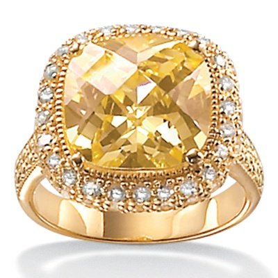 Lux Yellow CZ 18k/Sterling Silver Ring Size 8