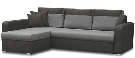 Sofa Loris mit Ottomane rechts in grau / dunkelbraun mit Bettfunktion und Staukasten – Abmessungen: 235 x 179 cm (L x B)