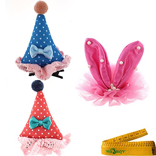 2 Pcs Adorable Cute Cat Dog Pet Birthday Party Hat Shaped Hair Clips And 1 Pink Rabbit Ear Clip For Kitten Puppy Small Dogs Cats Pets
