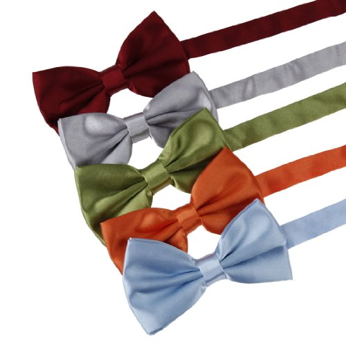 Dbf2009 Bow Tie For Men Burgundy,Grey,Green Yellow,Orange,Blue Solid Poly Pre-Tied Bow Tie Gift Box Set 5T By Dan Smith