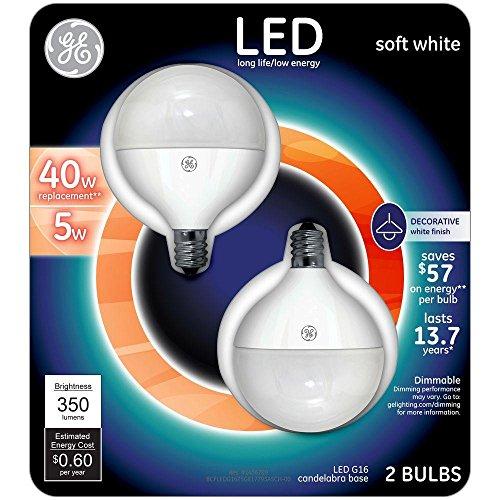 GE LED 40W Equivalent Soft White G16 Globe White Candelabra Base Dimmable LED Light Bulb (Ge Led Lightbulbs compare prices)