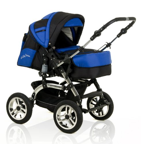 "NEW 2 IN 1 PRAM ""CITY DRIVER"" INCLUDED CARRY BASKET - CHROMED CHASSIS - 10 PIECES - IN COLOUR BLACK-ROYAL BLUE"