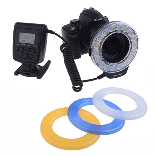 Neewer® 18 Macro Led Ring Flash Light Includes 4 Diffusers (Orange, Blue, Oyster White, Transparent) For Canon, Nikon, Panasonic, Olympus Slr Cameras (Will Fit 49Mm, 52Mm, 55Mm, 58Mm, 62Mm, 67Mm, 72Mm, 77Mm Lenses)