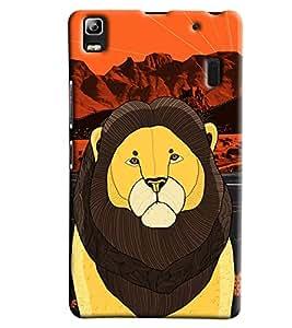 Blue Throat Lion Made Of Stripes Printed Designer Back Cover For Lenevo K3 Note