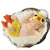 Eyourhappy Handmade Knitted Crochet Hat Costume Newborn Baby Photograpy Set Duck Hat+Socks+Pants