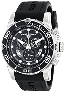 "Swiss Legend Men's 21368-01 ""Avalanche"" Stainless Steel Watch with Black Silicone Band"