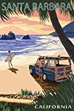 Santa Barbara, California - Woody on Beach (12x18 Art Print, Wall Decor Travel Poster)