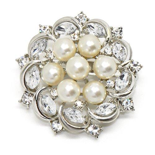 Silver Tone Shell Pearl Marquise Rhinestone Crystal