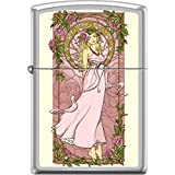 Zippo Nouveau Woman Pink Floral Alphonse Mucha Style Satin Chrome Lighter (Color: Pink)
