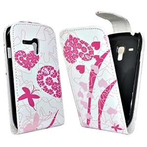 Accessory Master Coque en cuir pour Samsung Galaxy S3 Mini i8190 Rose coeur Fleur