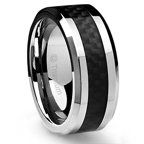 10mm Sleek Titanium Wedding Band by Cavalier Jewelers - Comfort Fit Wedding Ring with Polished Finish - Lightweight Band for Men - Black Carbon Fiber Inlay - Perfect Gift Ring [Size 10]
