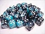 Chessex Manufacturing 26846 D6 Cube Gemini Set Of 36 Dice, 12 mm - Black Shell With White Numbering by Chessex Manufacturing