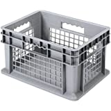 Akro-Mils 37678 24-Inch by 16-Inch by 8-Inch Straight Wall Container Tote with Mesh Sides and Solid Base, Case of 4, Grey