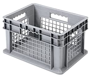 Akro-Mils 37278 16-Inch by 12-Inch by 8-Inch Straight Wall Container Tote with Mesh Sides and Solid Base, Case of 12, Grey