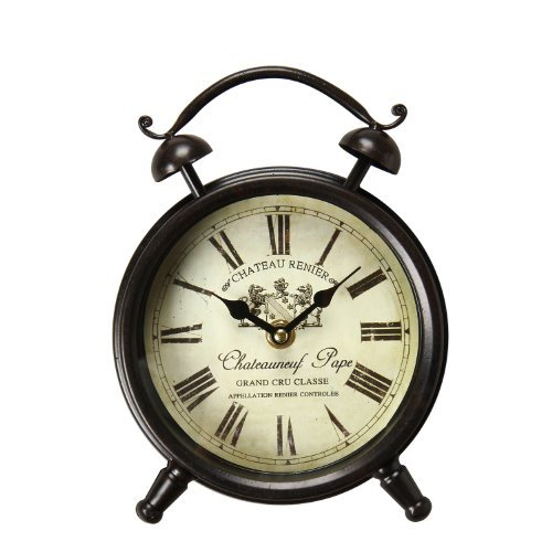 [Special Summer Deal !] Adeco Vintage-Inspired Brown Iron Alarm Clock Style Wall Hanging or Table Clock, Roman Numerals Chateauneuf Pape Home Decor, off white, black