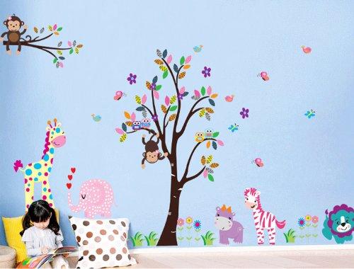 Rainbow Fox® Dschungel Wald Zoo Animal World Spielen Affe auf Bäumen Wandtattoo-Aufkleber für Kindergarten