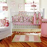 My Baby Sam 3 Piece Paisley Splash Crib Bedding Set, Pink