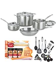 Cuisinart MCP-7N MultiClad Pro Stainless-Steel 7-Piece Cookware Set + Kamenstein Mini Spatula Spice Set + Accessory Kit by Cuisinart