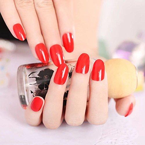 [24pcs Pure Color Nail Round False Nails Salon Manicure Fake Nails Red] (Red Fake Nails)