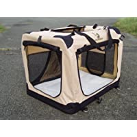 Fold Flat Fabric Cat Dog Carrier/Basket-49cm x 34cm x 35cm Small BEIGE. ISOFIX VEHICLE ANCHOR LOOPS. Fleece Liner.