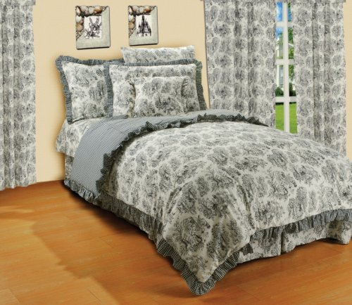 Charcoal Creme Classic Girls Toile Bedding