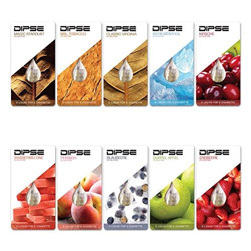 Liquid Probier-Set für jede e Zigarette/eShisha – Frucht und Tabak Sorten zum Testen – Nikotinfrei (0,0mg/ml) von Dipse