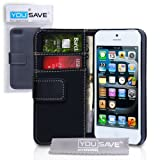 Yousave iPhone 5 / 5S Case Black PU Leather Wallet Cover