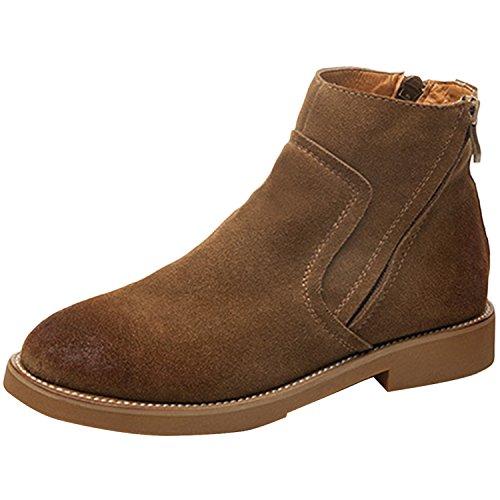 Oasap Femme Boots A Cheville Faux Suède Zip Sur Le Côté Bout Rond