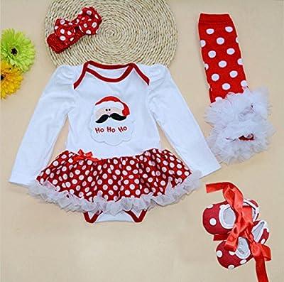 Marlegard® Baby Girls' 4PCs Polka Dots Santa Christmas Tutu Dress Headband Shoes