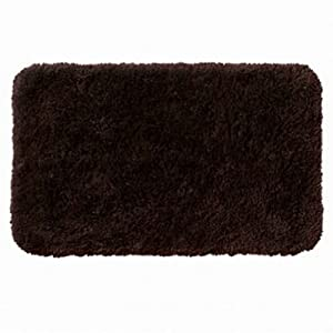Apt 9 dark chocolate brown shag throw rug 20x32 comforel bath mat skid resistant for Chocolate brown bathroom rugs