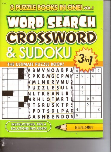 3 in 1 Word Search, Crossword & Sudoku (3 Puzzle Books in One) 192 Pages - 1