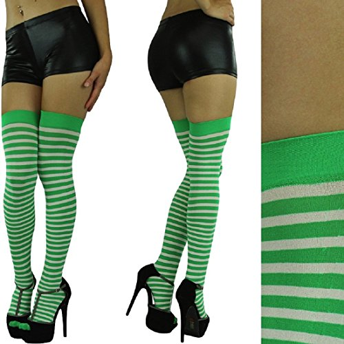 Bright Soft Striped Athletic Thigh High Socks Over the Knee Warm Tight (White/Green, OS)