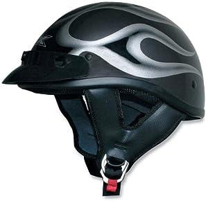 AFX FX-70 Beanie Helmet, Dark Silver/Black Flame, Helmet Category: Street, Helmet Type: Half Helmets, Size: 2XL, Primary Color: Silver 01030476