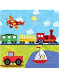 """On The Go 6.5"""" Lunch Napkins (16) Birthday Car Train Boat Truck Party"""