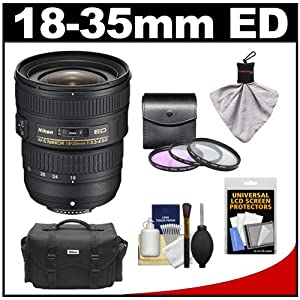 Nikon 18-35mm f/3.5-4.5G ED AF-S Zoom-Nikkor Lens with Nikon Case + 3 UV/FLD/CPL Filters + Accessory Kit for D3100, D3200, D5100, D5200, D7000, D7100, D600, D800, D4 DSLR Camera