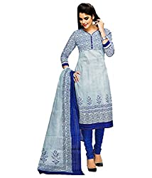 Shree Ganesh Blue Cotton Printed Unstitched Churiddar Suit with Dupatta