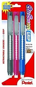 Pentel Clic Eraser Grip Retractable Eraser with Grip, Assorted Barrels, 3 Pack (ZE21BP3M)