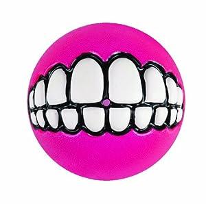 Rogz Grinz Treat Ball Dog Toy, Medium Pink