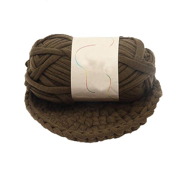 Yarn,Brown T-Shirt Yarn,Crochet Yarn,Fabric Knitting Yarn,Jersey Yarn,Recycled Yarn,Chunky Yarn,Spaghetti Yarn,Backpack Yarn,Cotton Yarn,Yarn Home Decor,1kg/2.2lb (Color: Brown, Tamaño: 1kg/2.2lb)