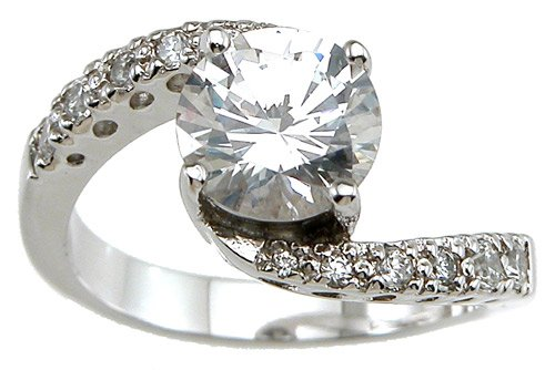 NEW 925 Sterling Silver CZ Solitaire Engagement Ring