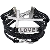 Christmas Gifts EyourlifeFashion Weave Wrap Around Leather Love Bracelet Cross Style